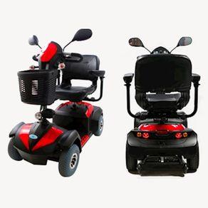 Scooter-Eletrica-Mid-SMB-Seat-Mobile-Vermelha-e-Preta-posicionada-de-frente-e-de-tras