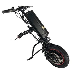 Kit-para-Motorizacao-de-Cadeira-de-Rodas-Handcycle-Eletrica-CNEBikes-Cor-Preta-Posicionada-de-Frente