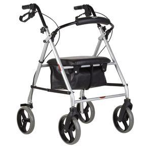 Andador-Dobravel-com-Rodas-Assento-e-Cesta-Mercur-cor-preta-posicionado-de-lado